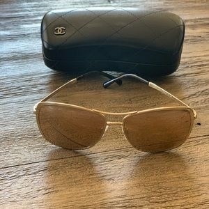 Chanel Mirrored Lens Rose Gold Sunglasses